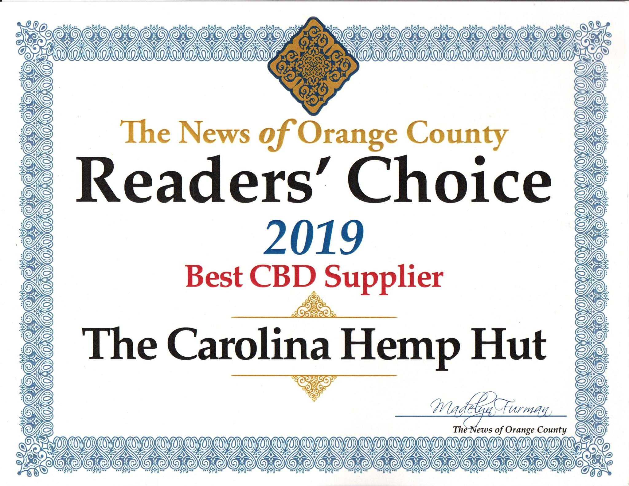 The News of Orange County has selected Carolina Hemp Hut as the Best CBD Supplier