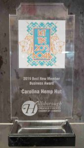 """Carolina Hemp Hut, North Carolina's largest single-store provider of hemp and cannabinoid products, is pleased to announce it has been named """"New Member Business of the Year"""" by the Hillsborough/Orange County NC Chamber of Commerce."""