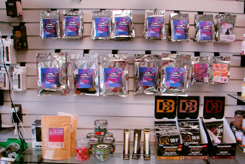 Part of the huge selection of Delta-8 THC products at the Carolina Hemp Hut - Largest selection of cannabis in North Carolina