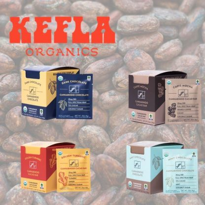 Kefla CBD chocolate Fair Trade Dark, Dark and Salty, Golden Tumeric, Mint Chocolate and more