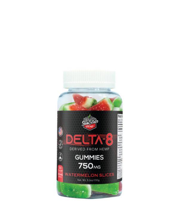 Calming Delta 8 THC Watermelon slices gummies with phytocannabinoids from Sun State Hemp